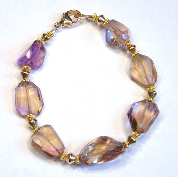 AMITRINE BLISS Amitrine faceted nugget Gold Filled 8 inch Bracelet S239