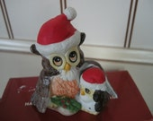 Vintage Pair of Christmas Owls baby and mom dad decorated for Christmas holiday