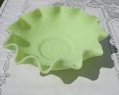 Fenton Glass Ruffled Satin Lime Green Jadite Bowl  Vintage Retro