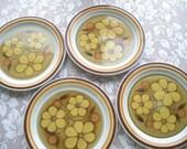 Vintage Large Ascons Daisydale Stoneware Dinner Plates Set of Four