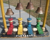 RESERVED For Kim Vintage Wooden Playskool Musical Toy with Wood People and Tabs and  Metal Bells