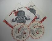 Vintage paper Poodle Dog Cocktail Napkins and Matching Coaster...SLURP