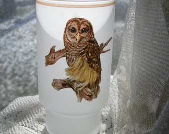 Frosted glass owl candle vase