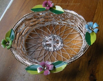 SILVER BASKET with  Sweet FLOWERS in Box
