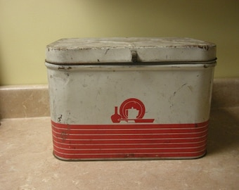Antique Rustic Hinged Bread Biscuit Tin Box with lots of Character