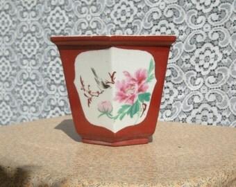 Hexagon Porcelain Oriental Flower Planter great as an Organizer Holder