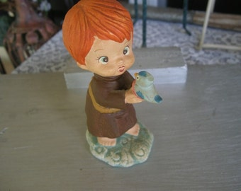 Vintage Little Folks  Figurine Red Haired Little Boy in a Robe Holding Bluebird