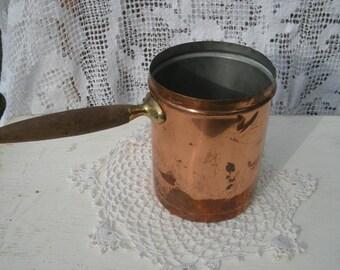 Primitive Rustic Vintage Copper pot with Wood Handle