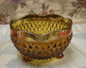 Elegant Amber and Gold Footed Dish Bowl in Diamond  Pattern by Indiana Glass