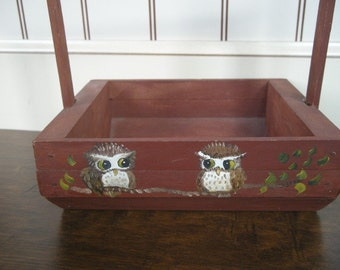 Vintage Wooden Box with Handle - Hand Painted Owls