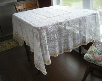 White Hand Crocheted Table cloth 62 x 73 inch