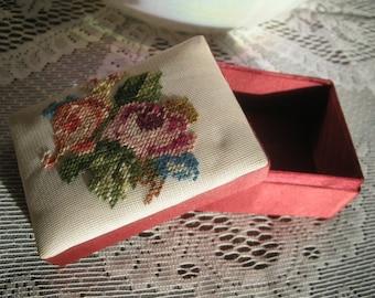 Fetco Vintage Petite Point Needlepoint Satin Box