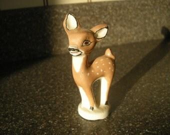 Small vintage ceramic fawn deer figurine Handmade