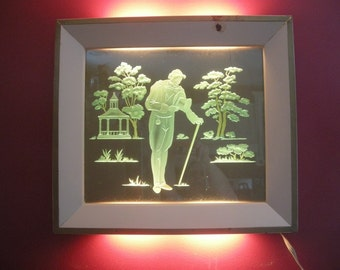 Reverse Hand Painted 3-D Victorian Lighted Antique Wall art shadowbox picture