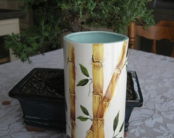 Tall Vintage Hand Painted Bamboo Porcelain Vase