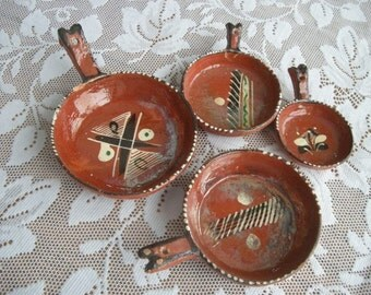 Set of Vintage Nesting Decorative Red Clay Mexican  Dishes/Bowls