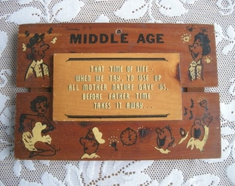 Vintage Wooden  Sign about  Middle Age with great graphics Souvenir from Corning, New York