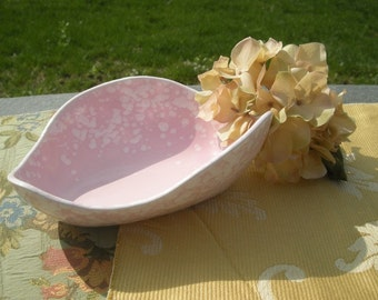 Pottery Console Bowl with Pink Sponged Glaze Vintage Mod Atomic 50s