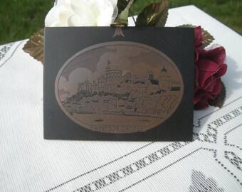 Etched Copper Windsor Castle England Vintage Wall Plaque Travel Souvenir