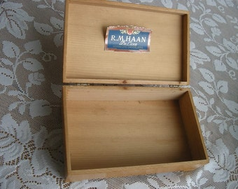 Antique Original R.M. Haan Candy Company Wooden Chocolate Box Early 1900s Hinged Original Label Red heart cutout