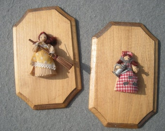Petite Wall Hanging Corn Husks Dolls Plaques