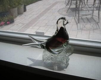 Hand Blown Glass Bird Sculpture Clear with Purple Highlights