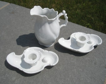 Instant vintage collection reproduction Victorian white porcelain Pitcher and Candle Stick Holders