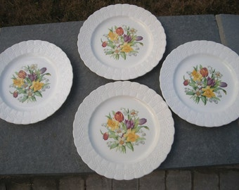 Set of 4 Salad Plates Solian ware spring bouquet - Providence