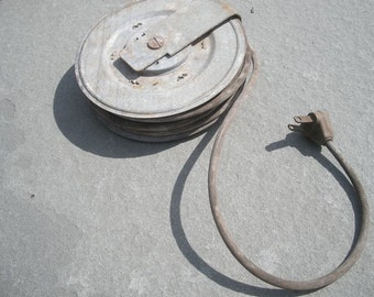 Vintage Industrial Metal Reel with Hardwire Extension Cord