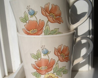 Pair of Corning Cornerstone in Royal Garden Pattern Cups