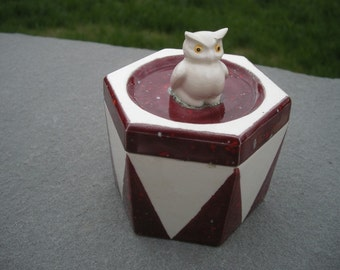 Vintage Octagon Shaped Ceramic Owl Box with Lid Designed by Elaine 1974