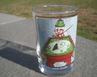 Pool Shark Glass Tumbler by Gary Patterson 1982 Arby's Collectors Series