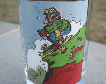 Arby's Skiers 'First Flake' Glass Tumbler by Gary Patterson, 1982 Arby's Collectors Series