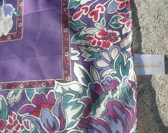 Vintage Berkshire Scarf Bright Purple Flowers