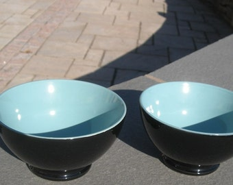 Ceramic Bowl Black Exterior and Teal Interior Set of 2