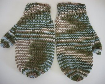 Hand Knitted Mittens Warm and Fuzzy Vintage Green, Blue, and Tan