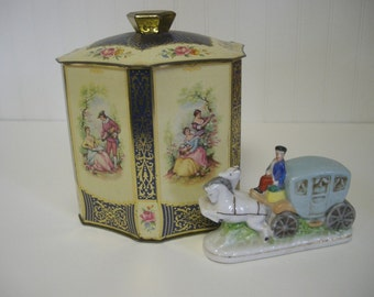 Antique Victorian Tin Container Loaded with Charm Hexagon Shape and Lid