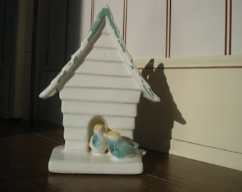 Antique Pottery Bird House with Cottage Chic Birds Wall Pocket