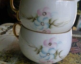 Two  Vintage Hand Painted PORCELAIN Tea Cups