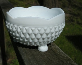 Footed Milk Glass Bowl with Diamond Pattern