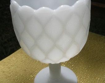 Milk Glass Quilted Honeycomb Design Vase Dish