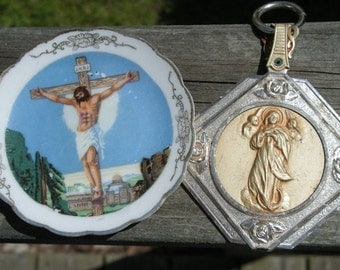 Religious Jesus Plate and  Mary Key Chain