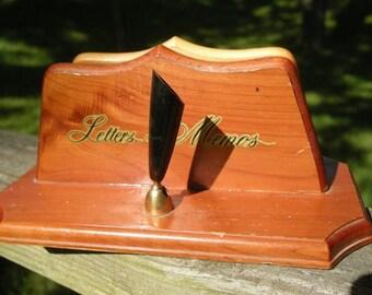 Wooden Vintage  Letter and Memo Holder with Pen Holder