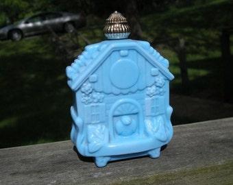 Blue birds in bird house