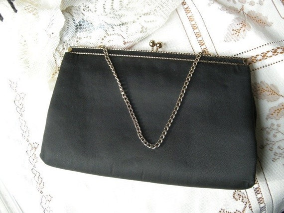 reserved for Melissa..After Five...Vintage Black Evening Bag - Clutch with Gold accents
