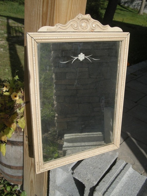 Antique Victorian Wooden Framed Mirror With Piece Of George