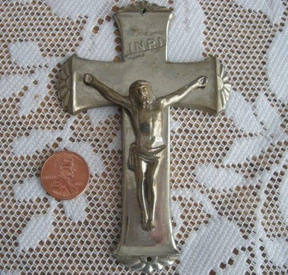Religious Silver Metal Cross Inri Wall or Hand Held Vintage