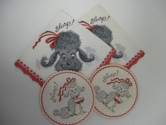 RESERVED for Teresa Vintage paper Poodle Dog Cocktail Napkins and Matching Coaster...SLURP