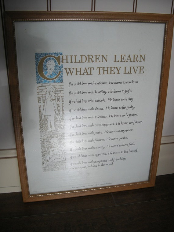 Framed Print Children Learn What They Live 1963 Similac