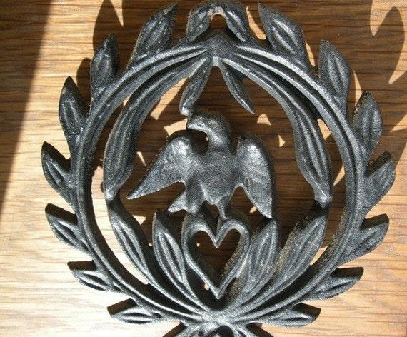 Eagle Cast Black Cast Iron Vintage Trivet or Wall Hanging